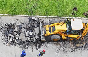 Разборка, вскрытие, демонтаж тротуаров, дорожек, бордюров